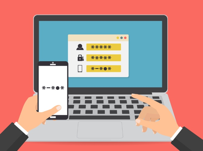 İki faktörlü kimlik doğrulaması kullanarak bilgisayara giriş yapan biri