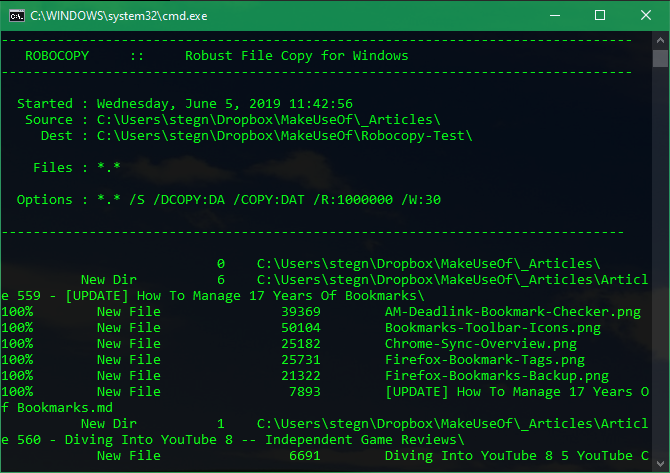 Robocopy Windows Örneği