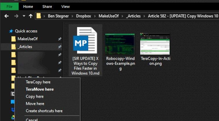 Windows Kopyala Buraya Taşı İletişim Kutusu