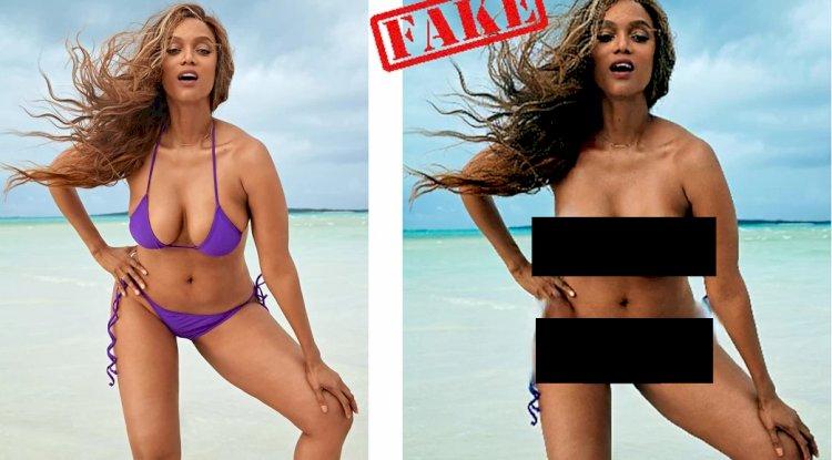 DeepNude uygulamasını kullanarak (solda) ve sonra (sağda) Tyra Banks'in bir görüntüsü