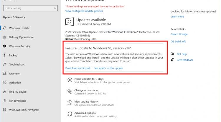 Cihazınızda Windows 10 21H1 güncellemesini nasıl edinebilirsiniz?