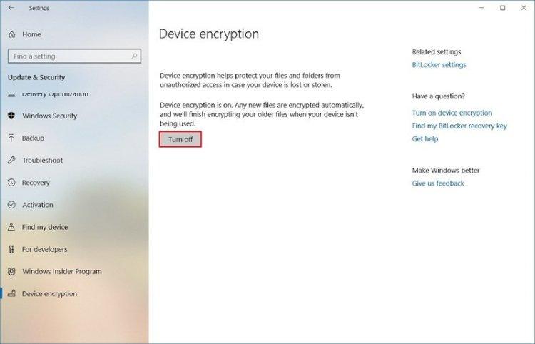 Windows 10 Home'da cihaz şifrelemesi nasıl etkinleştirilir